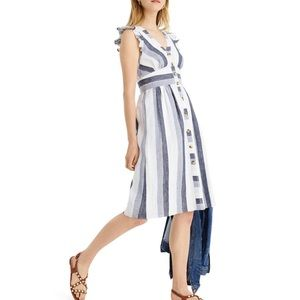 J. CREW Point Sur Indigo Stripe Linen Midi Dress
